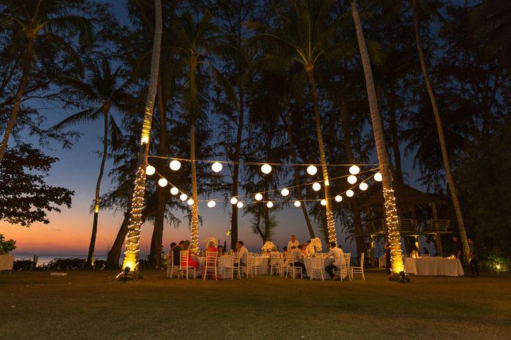 Beach wedding reception setup. alfresco dining under the stars. thailand villa wedding