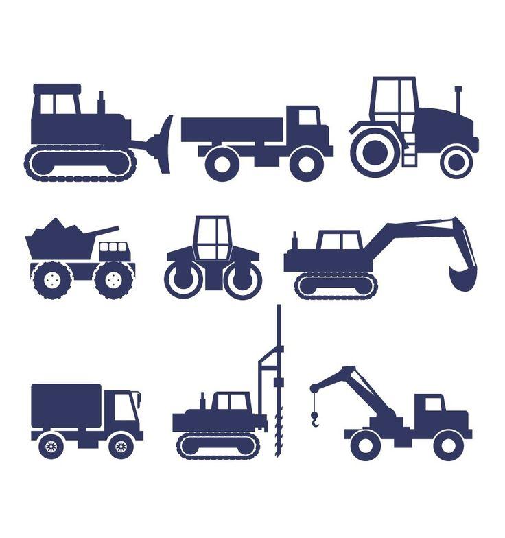 muursticker constructie voertuigen bestaat uit 9