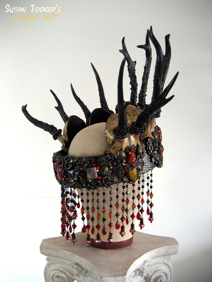 Witch Crown Antler Deer Skull Pagan Headdress Samhain ...