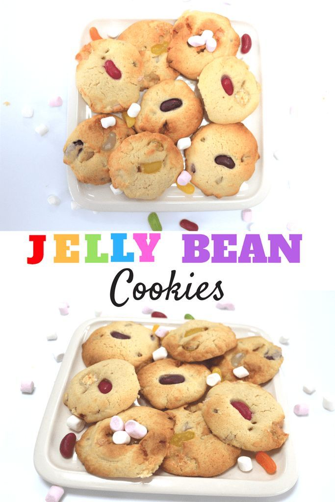 Jelly Bean And marshmallow cookies. Perfect sweet treat for kids! Tasty party food. Yummy sweet treats for baking with children. #cookies #bakingwithkids #kidsrecipes #sweettreats