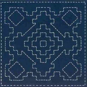 sashiko - FOUR CORNERS  Inspired by Southwestern Navajo rugs / this modern sashiko design is pre-printed on Kona indigo  www.sashikosouthwest.com