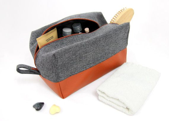 Large mens toiletry bag, dopp kit: vegan leather cosmetic bag travel toiletry bag big washbag for women