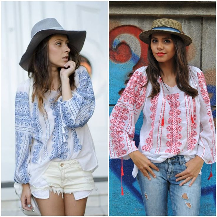 Blue or red? #romanianblouse #romanianlabel