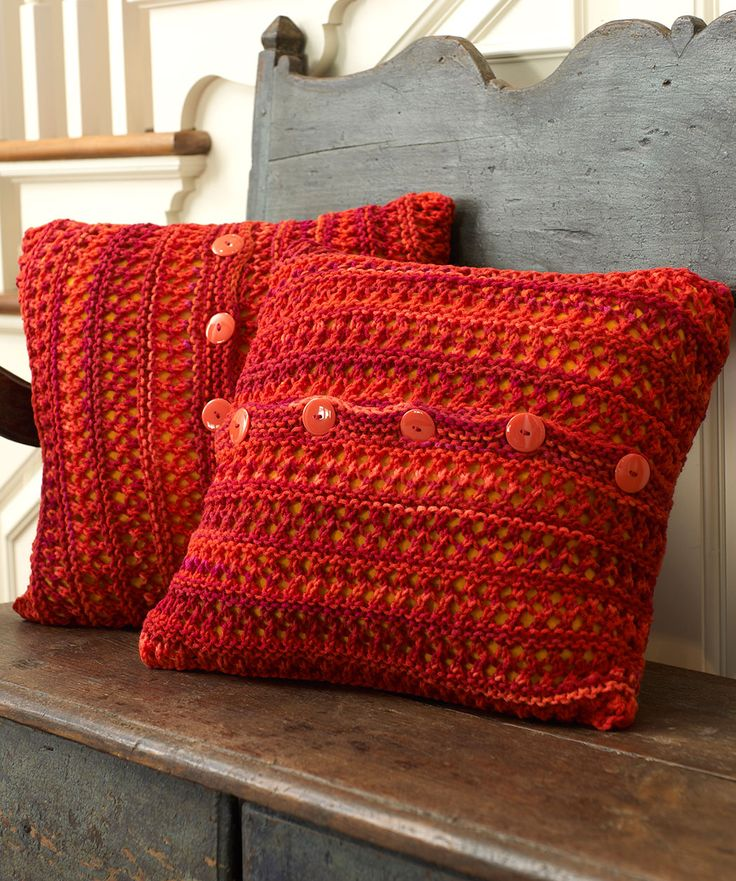 Modern Knitted Pillow : Button Up Chair Pillow Knitting Pattern #knit #redheartyarns New, New Free Patterns ...