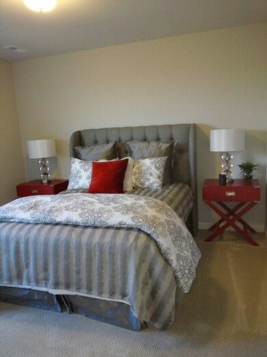 Grey and Red Bedroom