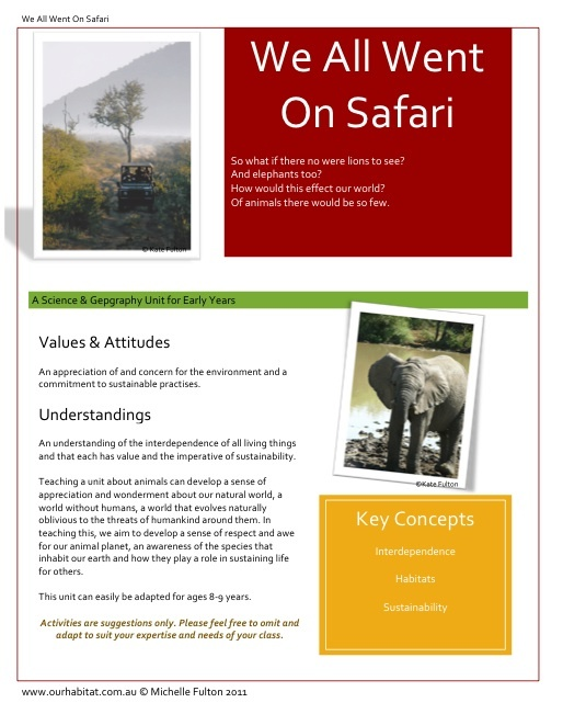 We All Went On Safari-A Science & Geography Unit - This inquiry unit suitable for Foundation & Year One, matched with Science & Geography Australian Curriculum focuses on our environment, interdependence of living things and the Cross Curriculum Priority 'Sustainability'. Included is 11 lesson ideas, an appendix with resource links and a powerpoint