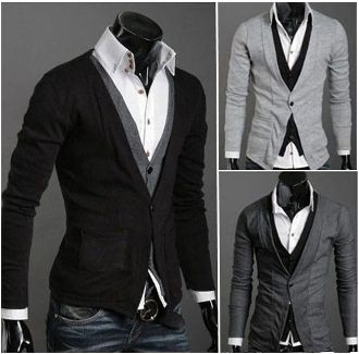 Men's Layered Look Button-up Cardigan $28.95
