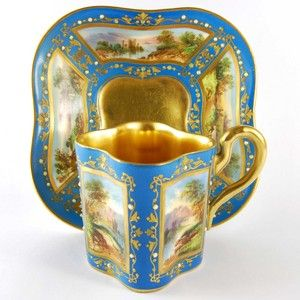 Coalport Porcelain Turquoise Ground Hand-Painted Jewelled Cabinet Cup and Saucer Circa 1900