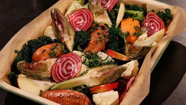 Hasselbackspanna med sötpotatis och grönkål