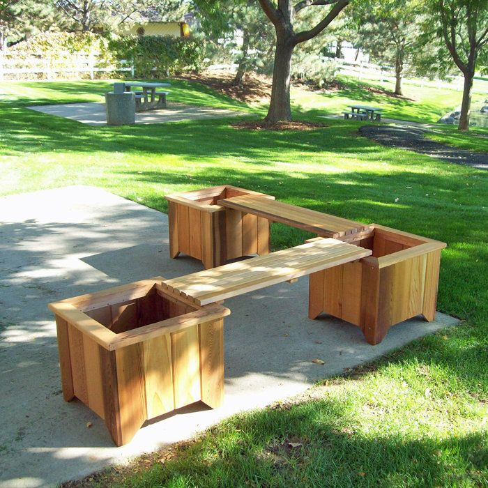 Planter Boxes Made From Composite Decking All Kind Of Wpc: #11 Three Cedar Planters/Two Bench Set At Brookstone—Buy