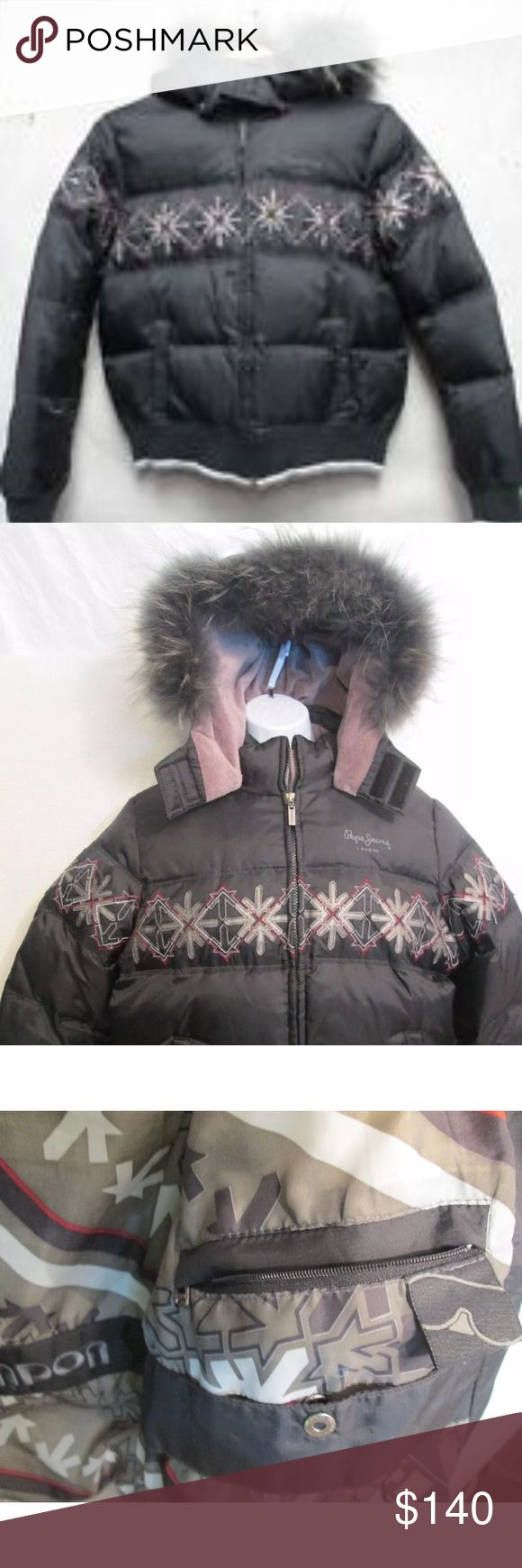 "Pepe Jeans Puffer Lg down jacket w/coyote fur trim Excellent. Condition .. no major issues..no major issues  -------------------------------------------------- SHOULDERS 16"" *  UNDERARM TO UNDERARM 22"" *  SLEEVES 24"" * LENGTH 23"" *  --------------------------------------------------- PEPE JEANS * London *  Snap Off Coyote Fur Hood  Puffer Down/Feather Jacket  Large -------------------------------------------------- Shell 100% Nylon * Lining 100% Polyester Pepe Jeans Jackets & Coats Puffers"