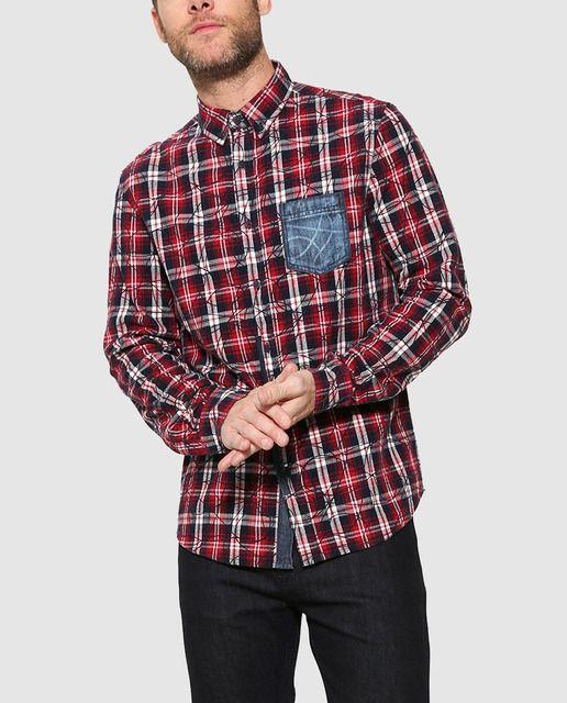 Camisa de hombre Desigual regular de cuadros roja