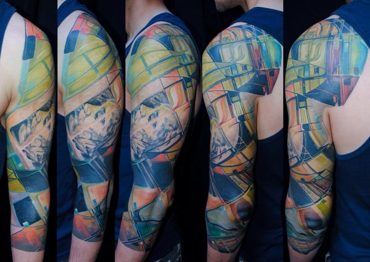 modern art geometric tattoo full sleeve by Balázs Vadócz at Creation by Vadócz Tattooshop
