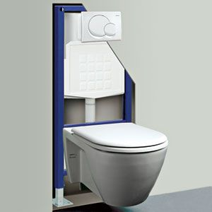 Wall-hung, hidden tank toilet. Flush button is set in the wall on a panel. The toilet can be installed at an optimal height for the user. Especially good for wheelchair users who want the seat parallel for easy transfer.
