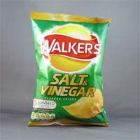 Walkers Salt and Vinegar Crisps (yes, crisps not chips! Another British thing!) I haven't found this flavor in the US as good as it tastes in UK.  I think I  need a care-packet of British Stuff ):
