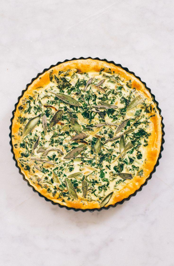 Simple Kale, Onion & Sage Quiche (no blind baking)