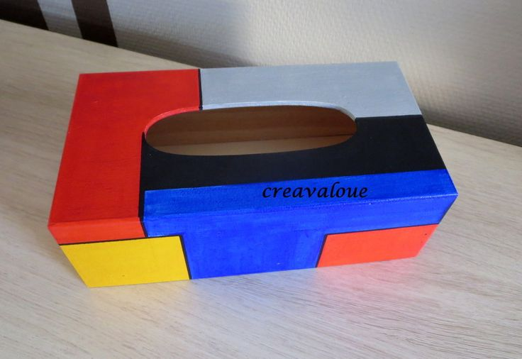 Boite à mouchoirs rectangle , multicolore en bois : Boîtes, coffrets par creavaloue