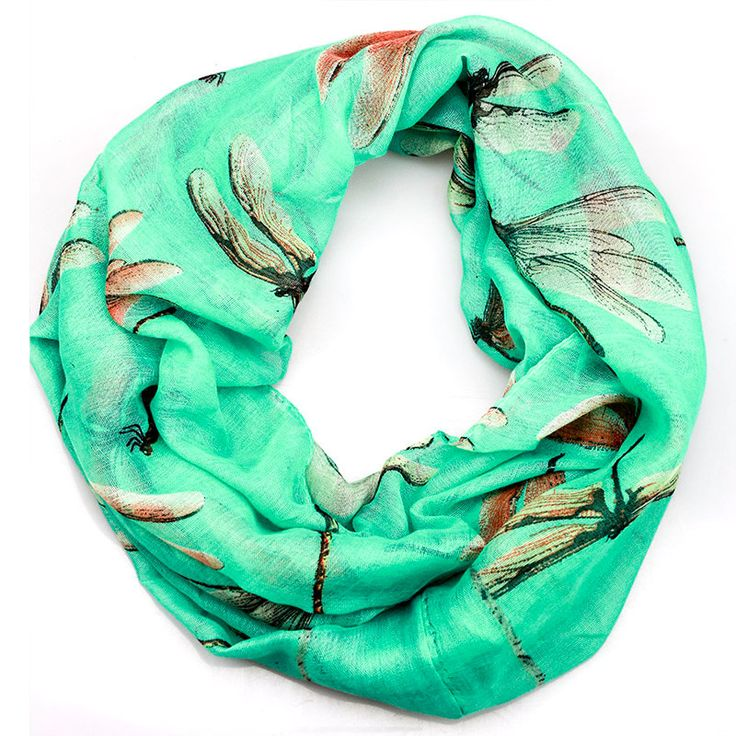 $11.99,Turuqoise Dragonfly Inifinity Scarf, women for her fashion accessoires teen gift idea holiday travel loop circle by URFashionista.com on Etsy