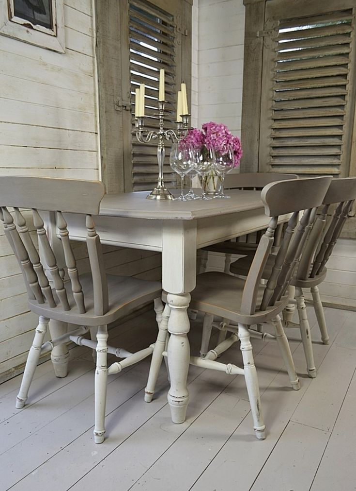Shabby Chic Dining Tables and Chairs to Give Maximum Beauty: deck wall combine with shabby chic dining area with classic chairs plus table embellished ancient candlestick