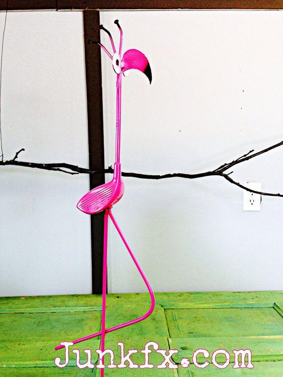 Recycled Golf Club Flamingo   on Etsy, $40.00