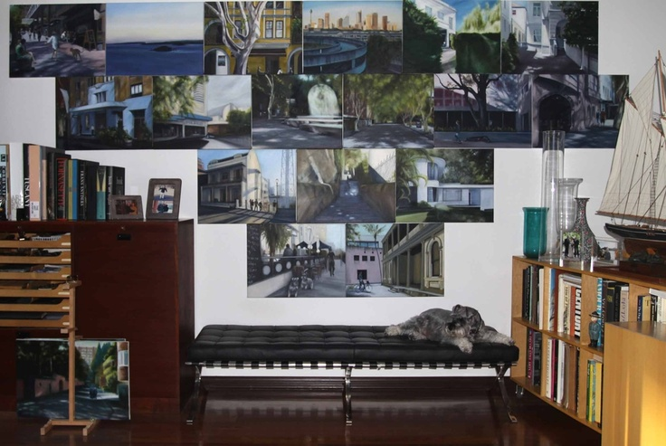 ​The 17 oil paintings for the Potts Point book are finally finished, it took 18 months and here they all are in my studio, next stop Becker Minty.​ Oskar has photo bombed again!