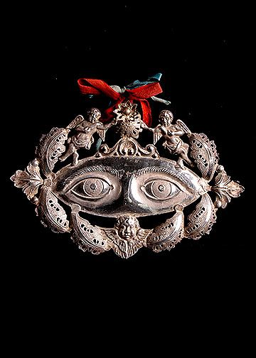 Italian Antique Silver Ex-Voto Eyes with Angels and Cherubs