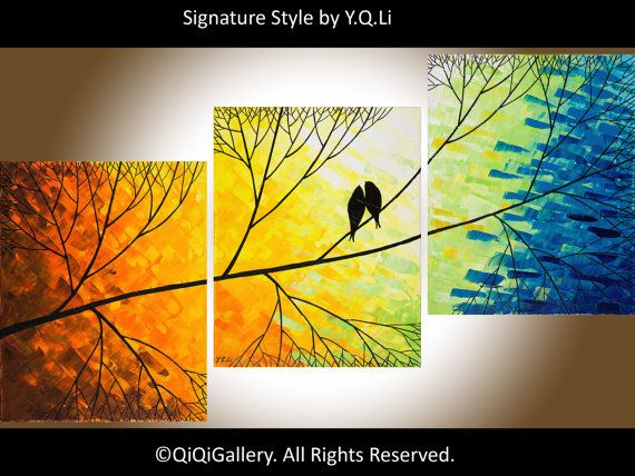 48 Original  large Abstract Painting Landscape door QiQiGallery
