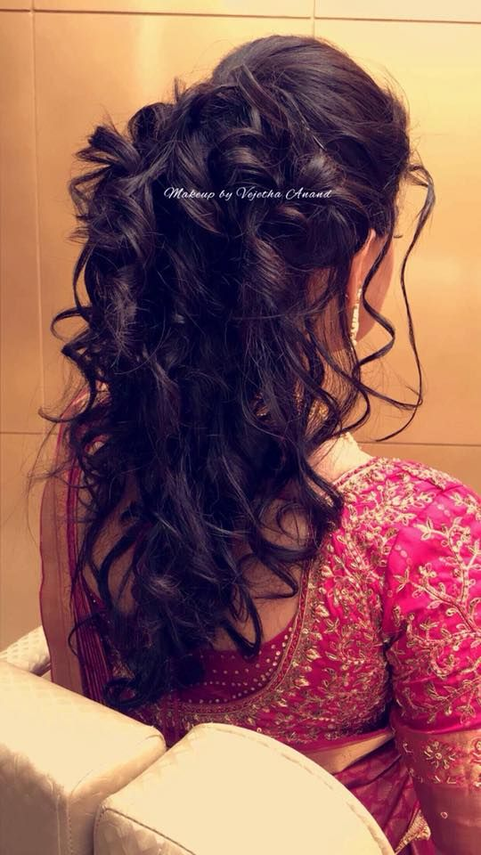 South Indian Bridal Hairstyle For Reception By Vejetha S Curls Easy Hairstyles Saree Blouse Design