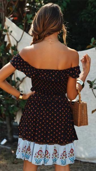 Shahana Off-Shoulder Mini Dress Bohemian Style, Boho Chic, Border Print, Boho Dress, Cloths, Fashion Outfits, Summer Dresses, Mini, Sexy