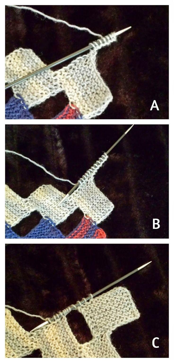 Dieser leichte Schal aus Sockengarn ist modular gestrickt, d.h. es werden einzelne kleine Teile (hier kleine Rechtecke) gestrickt, die während des Strickens verbunden werden. Er besteht aus kleinen krausrechts gestrickten Rechtecken, die nur 12 Maschen breit sind.  Gratis-Strickanleitung, stricken, Anleitung, umsonst, Schal, modular Stricken, Patchworkstricken