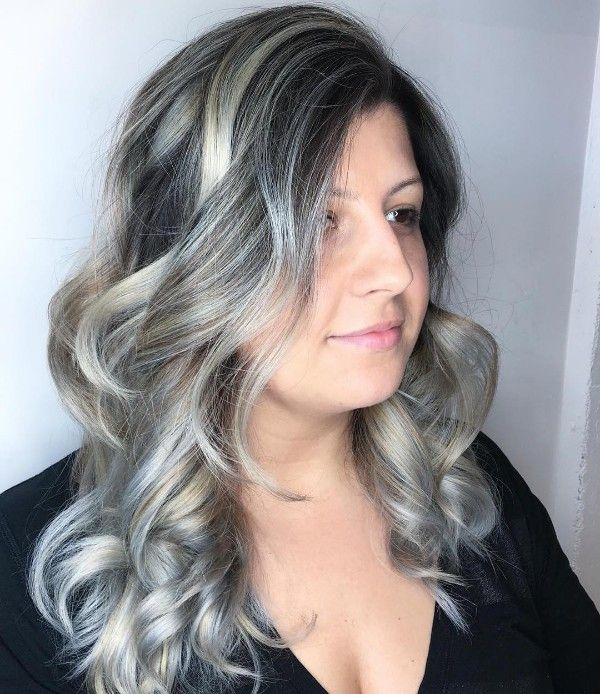 blond and gray highlights on black hair