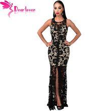 Querido Amante vestido longo maxi vestidos de Renda Preta de Crochê Nu Fenda Vestido Maxi frente robe longue femme vestidos de renda largo LC61167(China (Mainland))