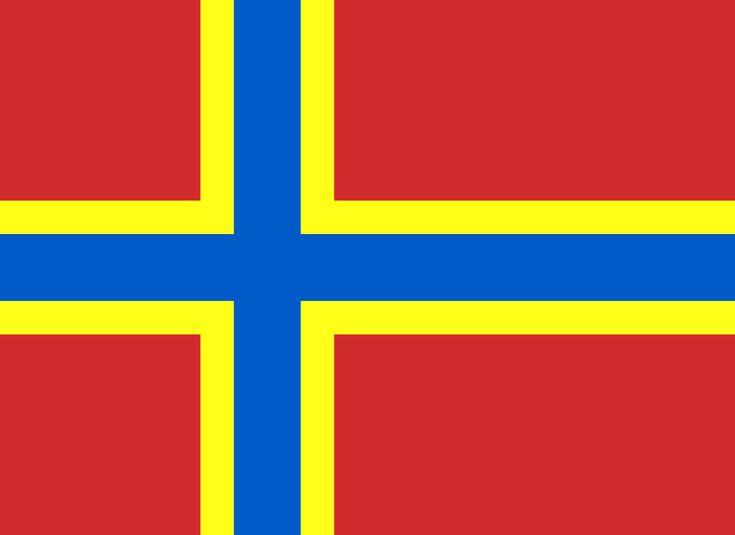 Orknøyenes flagg består av en rød flaggduk med et gulkantet blått nordisk kors. Flagget ligner på Norges flagg, men har gult i stedet for hvitt. Dette er en bevisst henvisning til at Orknøyene har hørt til under Norge. Flagget kombinerer norske og skotske farger. Korsflagget ble vedtatt av Orkney Islands Council i 2007, etter at det var avholdt åpen avstemning om nytt flagg.