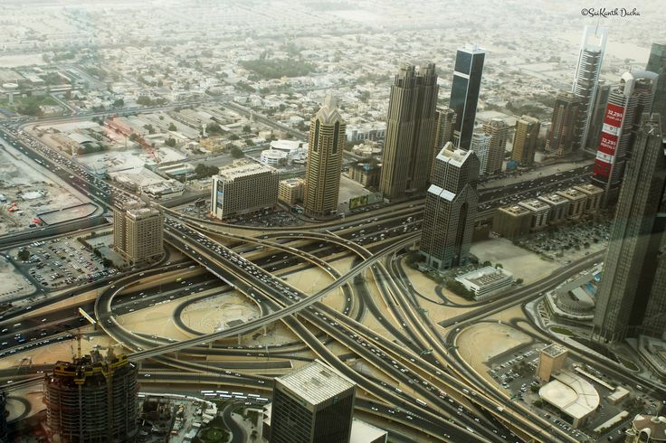 From atop the Burj Khalifa: the city of Dubai.