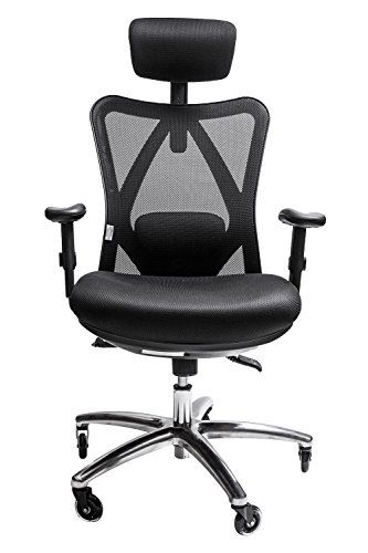 Sleekform Ergonomic Adjustable Office Chair With Lumbar Support And Rollerblade Wheels High Back With Breathable Mes Chair Desk Chair Adjustable Office Chair