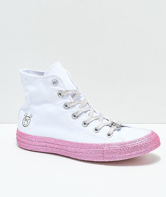 0d2f2268015 Converse x Miley Cyrus White   Pink Glitter High Top Shoes in 2019 ...