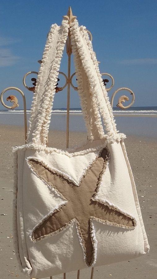 Sea Beach Bag – Starfish Khaki on Ivory
