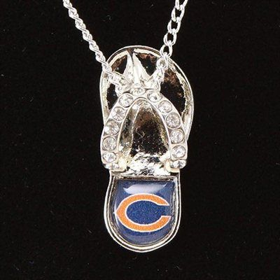 Chicago Bears Crystal Flip Flop Necklace