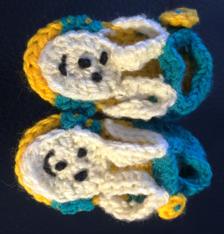 Rabbit crochet sandals. uses 8 ply. sole measures 9cm.
