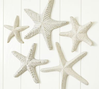 Carved Wood Starfish, Set of 5 #potterybarn