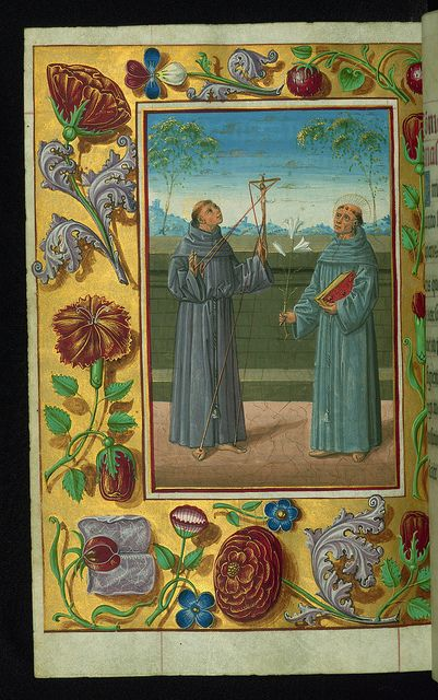 "Almugavar Hours, ""SS. Francis of Assisi and Anthony of Padua"" and decorative border with flowers, Walters Manuscript W.420, fol. 256v ~ 1510-20"