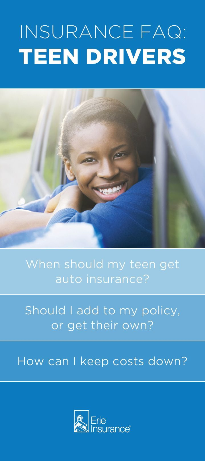 If you've got a teen driver at home, first things first: relax. With a little knowledge, you can help your teen be smart and safe on the road. It all starts with having the right auto insurance coverage -- and that's where Erie Insurance can help. Read more about how we can be there for you and your teen driver. #safety #TeenDriving