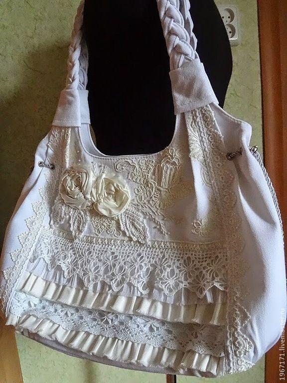 """Белый """" бохо-шик """". - белый,белая сумка,бохо стиль,кружево,цветы из атласа oh my what a lovely bag with lace so so pretty"""