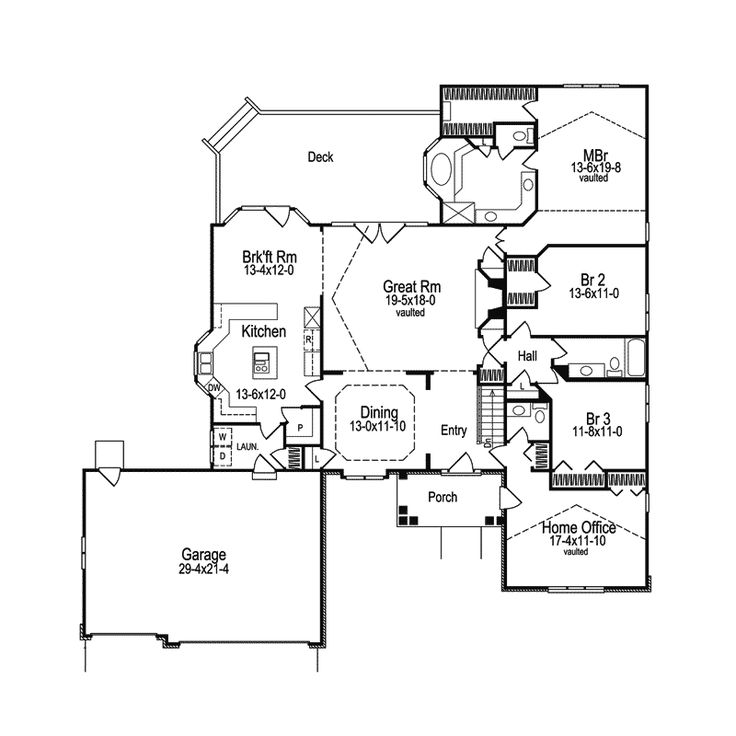 Westport cape cod ranch home traditional house plans for Cape cod floor plans