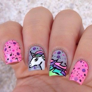 "badgirlnails: ""Diamond Unicorn"" Nail Art"