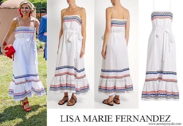 LISA MARIE FERNANDEZ Rickrack Trimmed Linen Maxi Dress
