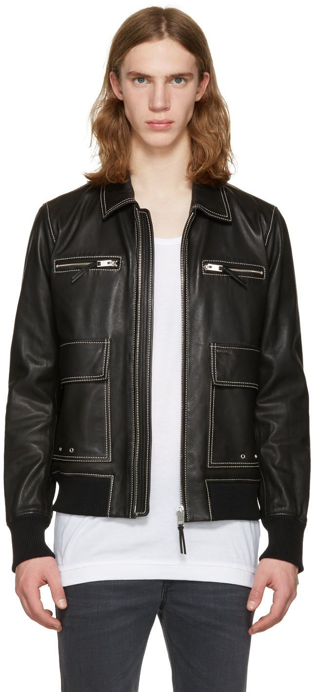 Diesel - Black Leather L-Boom Jacket