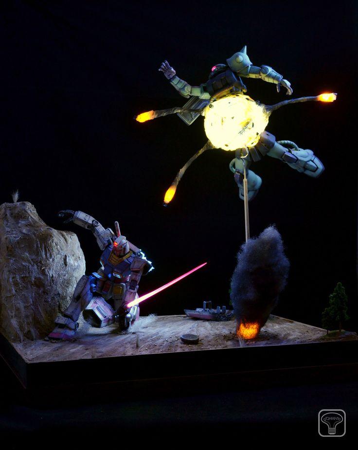 MG 1/100 RX-78-2 Gundam Vs. MS-06J Zaku - Diorama Build w/ LEDs