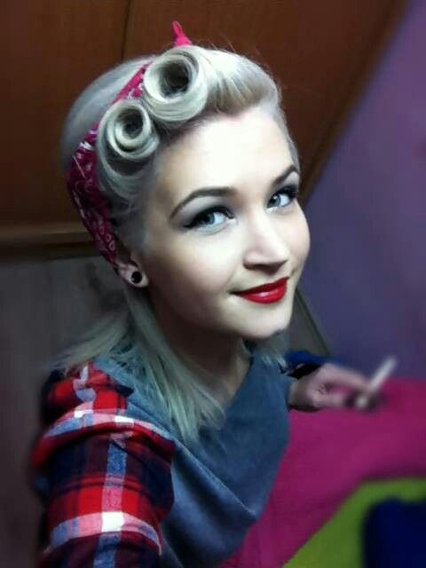 Adorable Pinup hair victory rolls & makeup