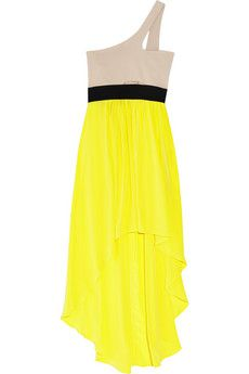 #One Shoulder Dress with Yellow Angled skirt